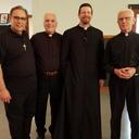 Dcn. John, Fr. Thomas, Fr. Pfeiffer and Fr. Karg at the reception for Fr. Karg as he leaves for his retirement home.