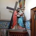 Jesus meets His Mother statue is located in the vestibule of the Church as you enter
